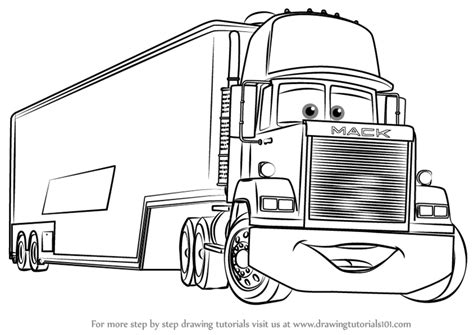 coloring pages cars mack learn how to draw mack from cars 3 cars 3 step by step