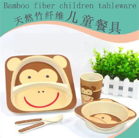 Animal Tableware Bamboo Fiber Part 1 bamboo fiber utensils sets 5pcs baby green tableware set with animal zoo baby printing