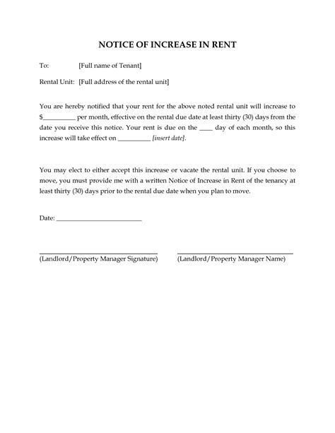 rent increase letter template 10 best images of rent due notice template past due rent