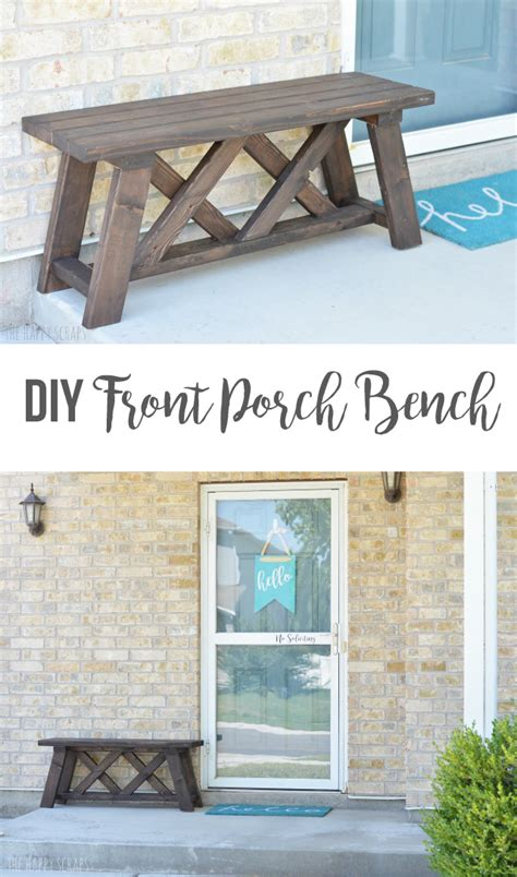 bench for front porch diy front porch bench the happy scraps