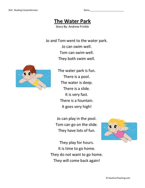 1st Grade Comprehension Worksheets by Reading Comprehension Worksheet The Water Park