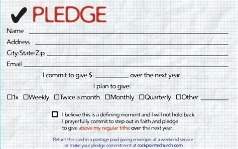 caign pledge card template pledge cards for churches pledge card templates my