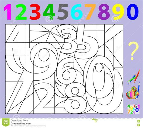 educational page for children need to find the numbers and paint them in relevant