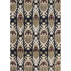 this handmade sabrina ikat area rug features a rich new zealand blend wool and viscose