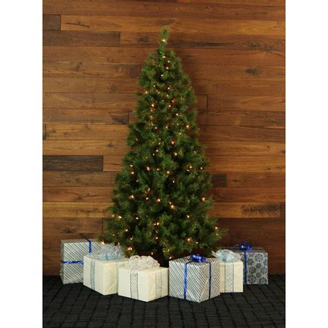 corner christmas tree 7 5 ft pine half wall or corner tree with clear lights ffcm075w 1gr