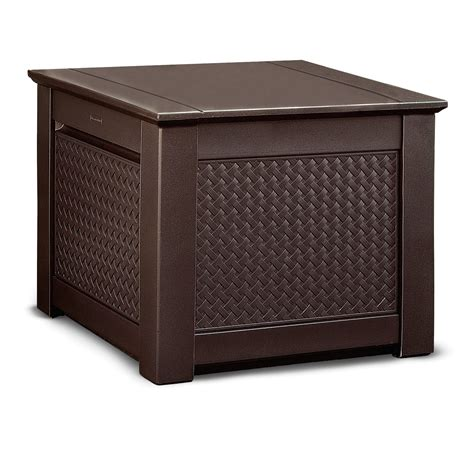 Rubbermaid Patio Chic by Rubbermaid Patio Chic Outdoor Storage Cube Teak
