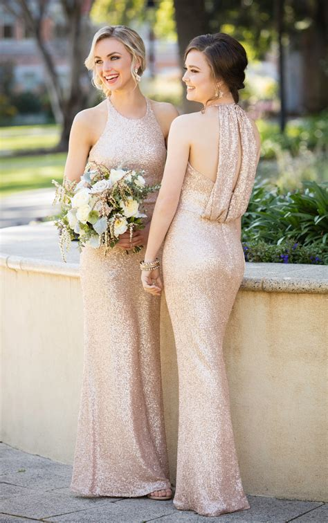bridesmaid dresses high neck sequin bridesmaid gown