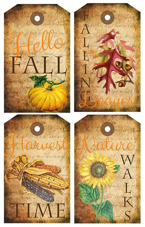 printable autumn name tags fall themed tags free printables