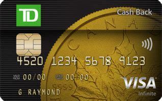 Visa Gift Card Cash Back - td cash back visa infinite card td canada trust