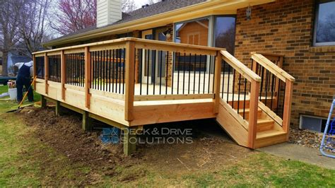 Metal Deck Spindles Deck Resurface With Cedar And Cedar Post Rail With