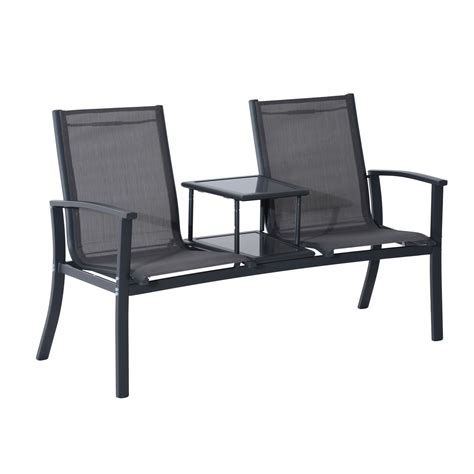 bench w outsunny 2 person outdoor patio bench w center table