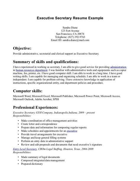 secretary resume exles http www jobresume website