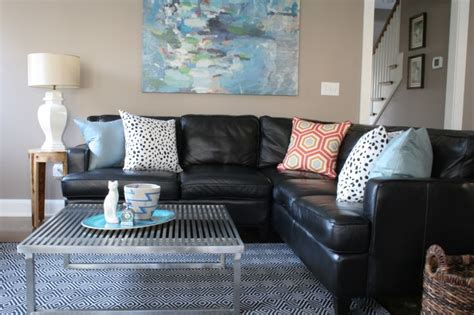 decorating around a black leather couch black leather couches decorating ideas decorating