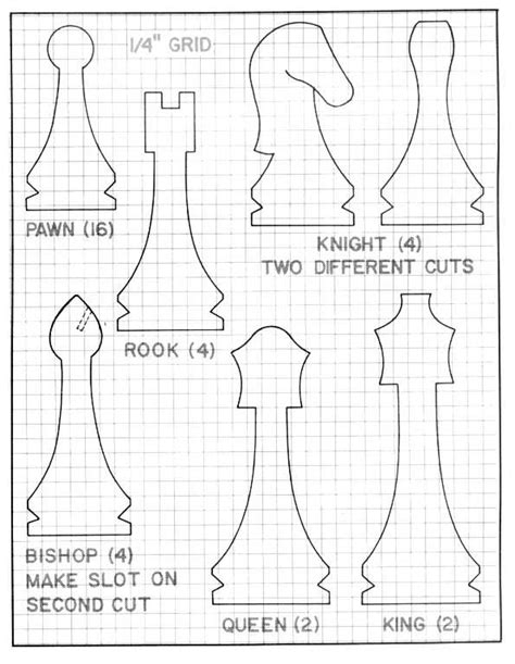 Chess Pieces Outline by Shopsmith Articles And Projects Chess And Checkers
