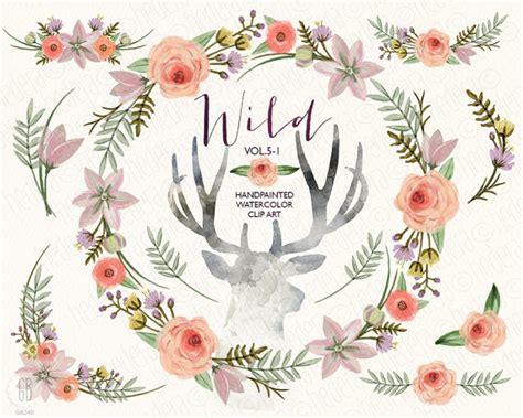 Hochzeitseinladung Hirschgeweih by Watercolor Floral Wreath Flowers Peony Antlers Deer