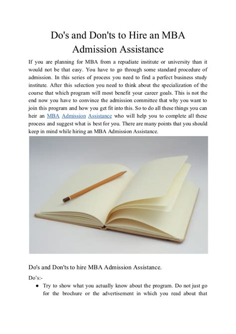 What Do You Do To Get An Mba by Do S And Don Ts To Hire An Mba Admission Assistance