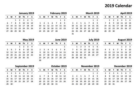 2019 Printable Calendar Templates Online Free Calendar Template 2019
