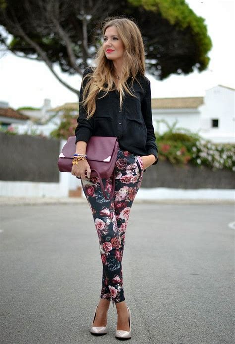 how to wear printed pantstrousers fall2013 pinterest feminine floral trousers leggings your essential fashion