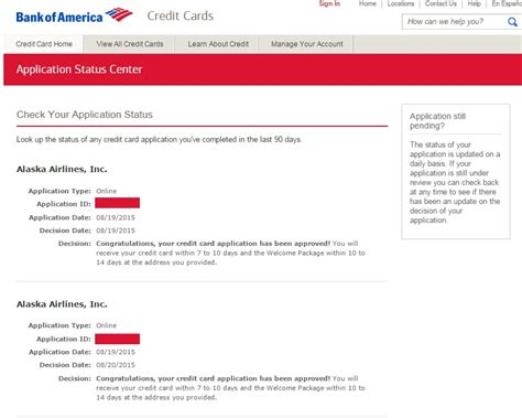 app bank of america check your bank of america credit card application status