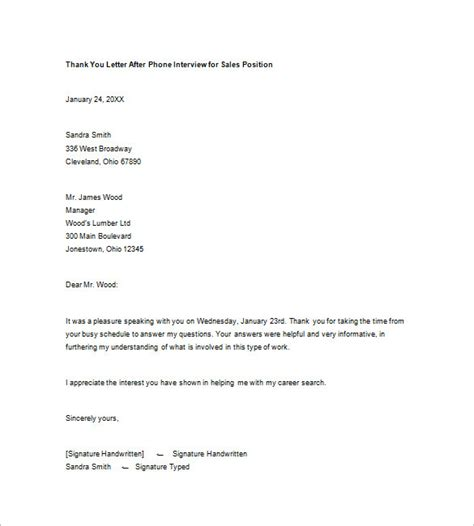 thank you letter after sales position 8 thank you note after phone free sle
