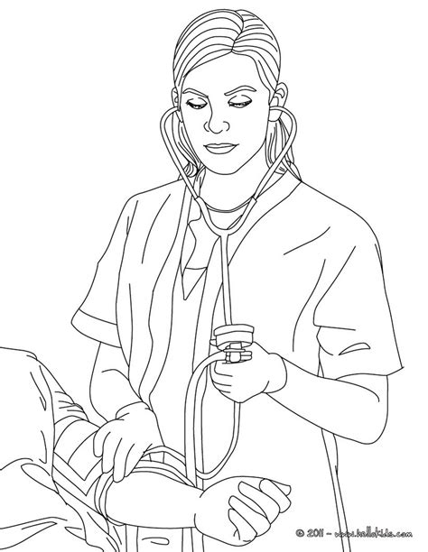 nurse ckecking blood pressure coloring pages hellokids com