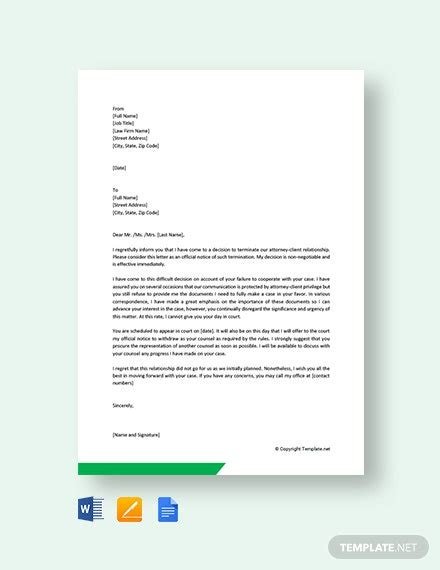 attorney termination letter template word