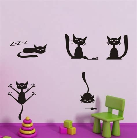 cat wall sticker cats wall decals animal decoration for home