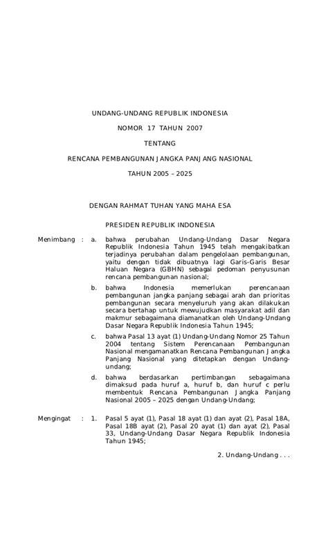 Undang Undang Ri No 17 Tahun 2008 Tentang Pelayaran undang undang no 17 tahun 2007 tentang rencana pembangunan jangka pa