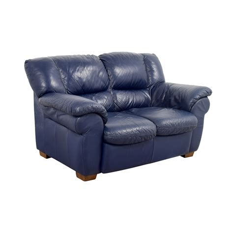 Macys Macys Navy Blue Leather Loveseat Sofas