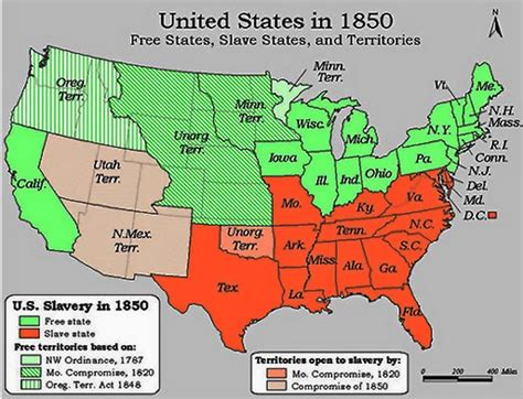 map of the united states slavery compromise of 1850 slavery fugitive slave law compromise map