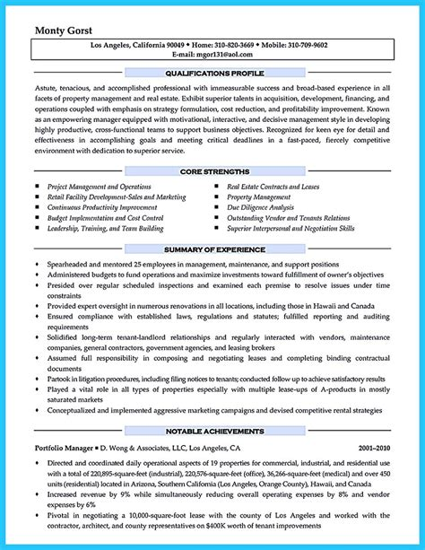 Assistant Manager Resume Objective Sle by Property Manager Resume Sle Sle Resumes Resume For