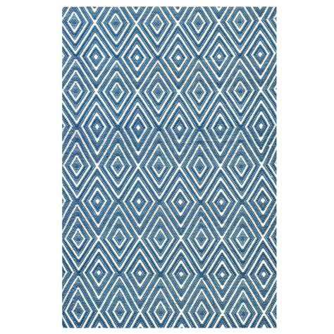 Indoor Outdoor Diamond Rug In Denim Blue White Indoor Blue And White Outdoor Rug