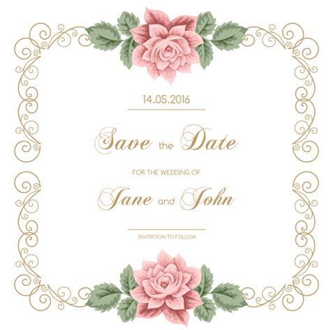 Wedding Flower Vector by Vintage Wedding Card Design Free Vector Yaseen For