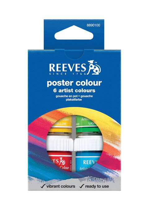 Termurah Reeves Poster Colour Set 6 X 22ml products craft materials stationery office