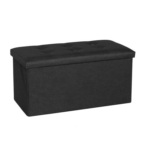 black suede ottoman folding storage ottoman box linen suede foot stool seat