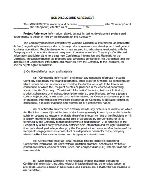 19 Non Disclosure Agreement Templates Doc Pdf Free Premium Templates Free Non Disclosure Agreement Template California