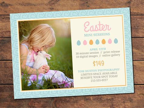 shoot card template marketing materials mini session cards easter mini