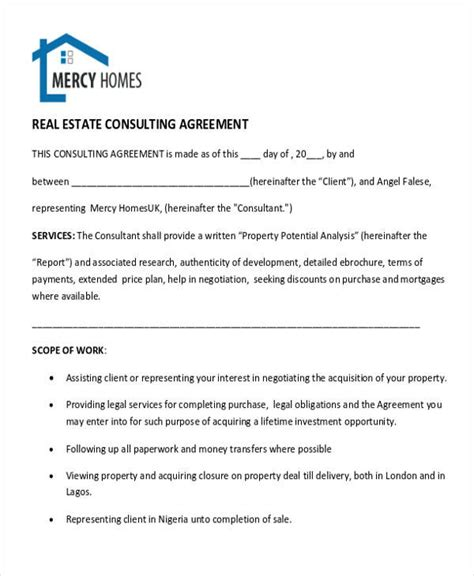 sle real estate consulting agreement template 28 consulting agreement in pdf 28 images 28 consulting