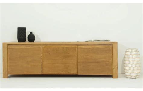 banc bois massif banc tv bois massif 3 portes en teck naturel h 50cm