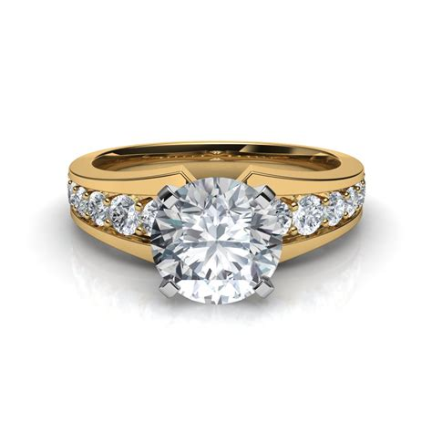 pave diamonds tapering pav 233 engagement ring