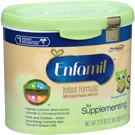 supplementing 1 feeding with formula enfamil for supplementing baby formula 21 5 oz powder in