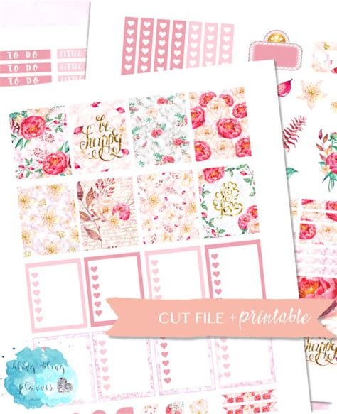 printable rose stickers the best pretty floral themed planner printables