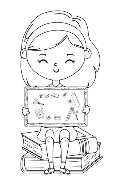 Menina dos desenhos animados, lendo um livro — Vetor de