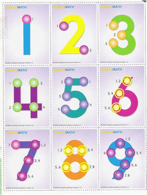Touch Math Numbers 1 9 Printable