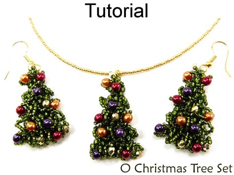 Patterns Christmas Jewelry | beading tutorial pattern earrings necklace christmas