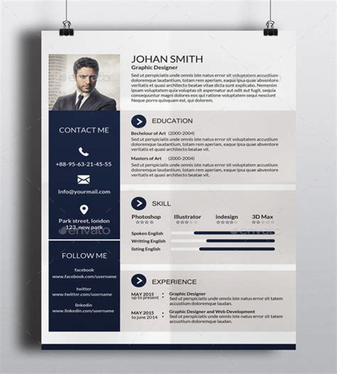 Free One Page Resume Website Template by 41 One Page Resume Templates Free Sles Exles