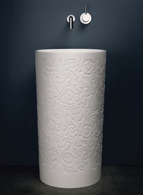 Round Decorative Pedestal Sink Blu Stone By Blubathworks Decorative Bathroom Sink