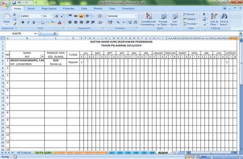 contoh format absensi guru absensi daftar hadir guru format microsoft excel arsip