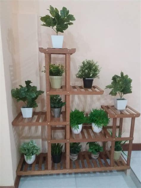 jual dekorasi rak bunga kayu unik  minimalis  lapak