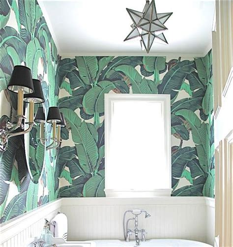 banana leaf wallpaper beverly hills hotel colonial house tour part 2 wallpapered powder room